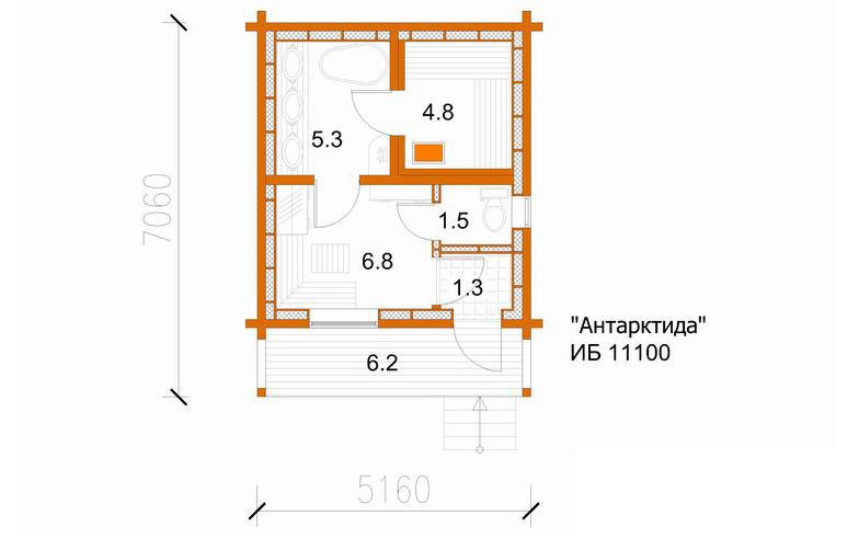 План-схема бани из клееного
