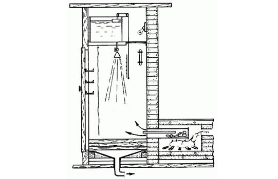 Схема душа в бане
