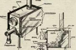 Схема устройства самодельной печи длительного горения