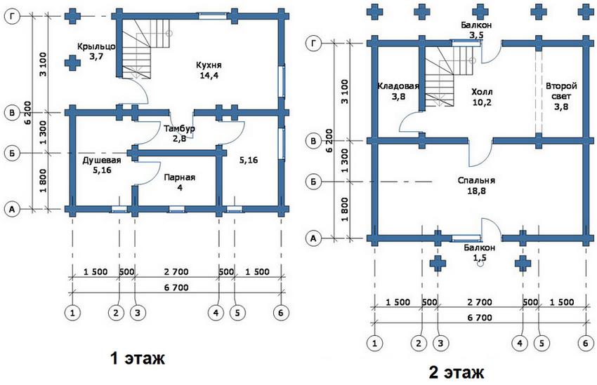 Проект первого и второго этажа в большой бане