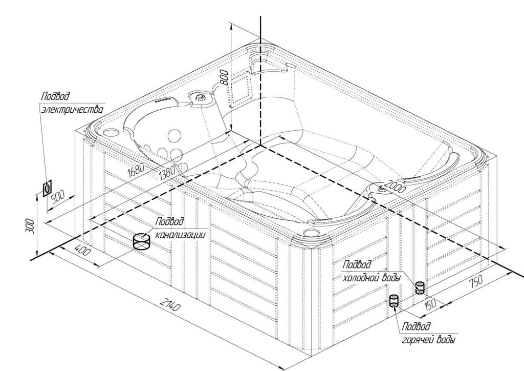 Схема гидромассажного бассейна