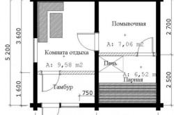 Пример проекта каркасной бани