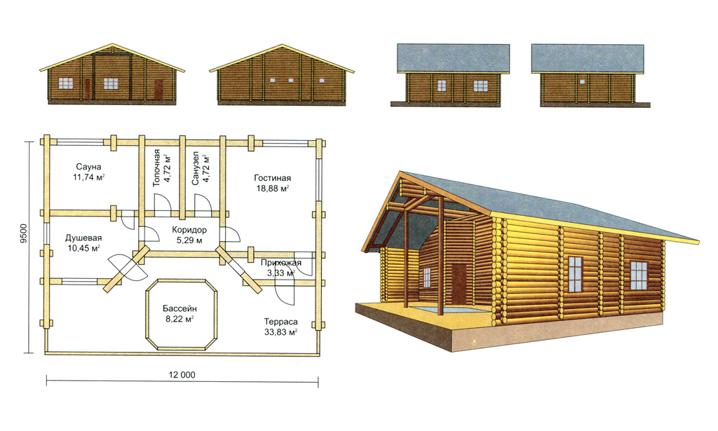 Схема-проект бани из бруса с террасой